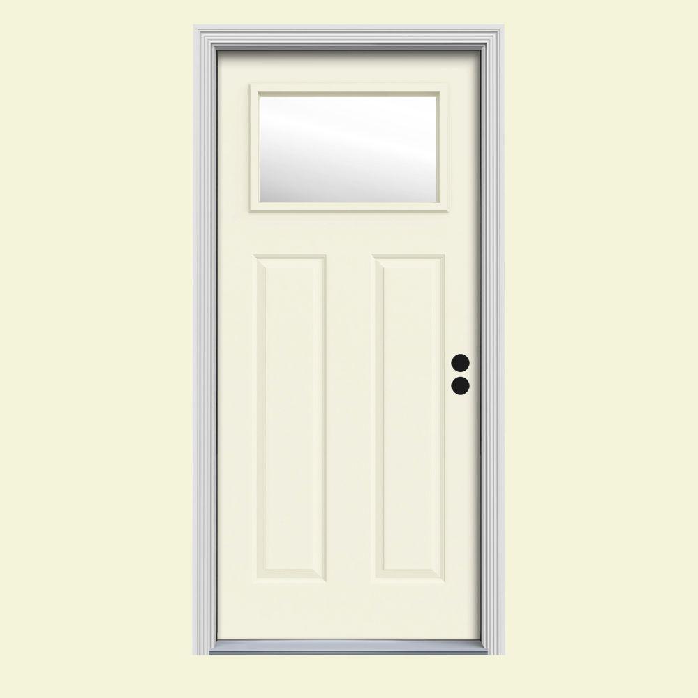 30 in. x 80 in. 1 Lite Craftsman Vanilla Painted Steel Prehung Left-Hand Inswing Front Door w/Brickmould