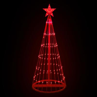 48 in. Christmas Red LED Animated Lightshow Cone Tree with 154 Lights and Star Topper