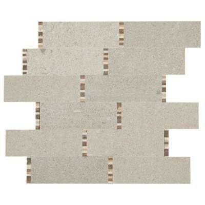 Premier Accents Bisque Mini Brick Joint 11 in. x 13 in. x 8 mm Stone Mosaic Floor and Wall Tile (0.92 sq. ft. / piece)