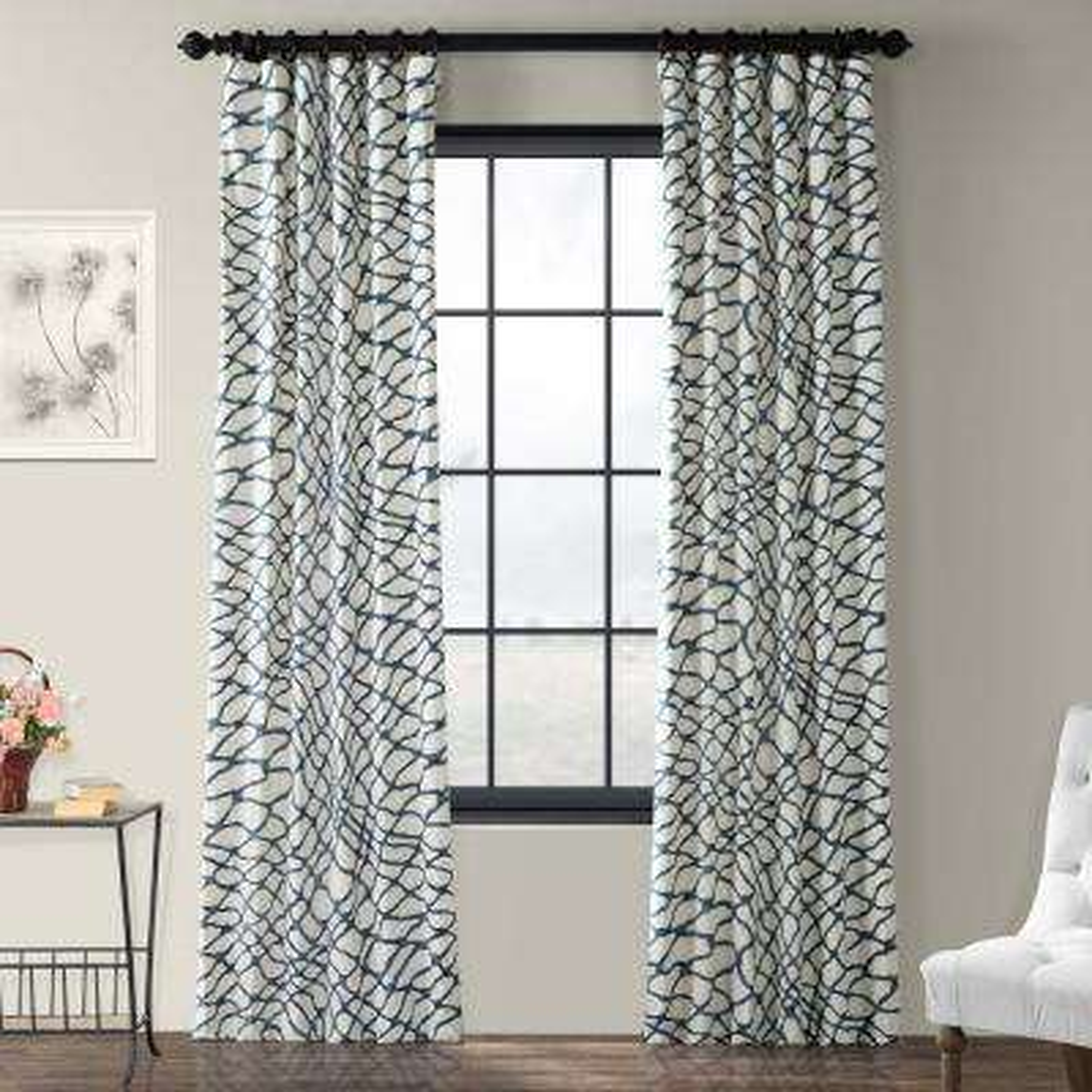 Ellis Blue Room Darkening Printed Cotton Twill Curtain - 50 in. W x 96 in. L