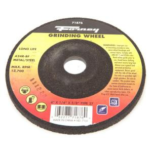 Forney 4 inch x 1/4 inch x 5/8 inch Metal Type 27 A24R-BF Grinding Wheel by Forney