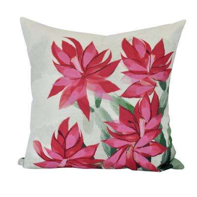16 in. Christmas Cactus Floral Print Decorative Pillow