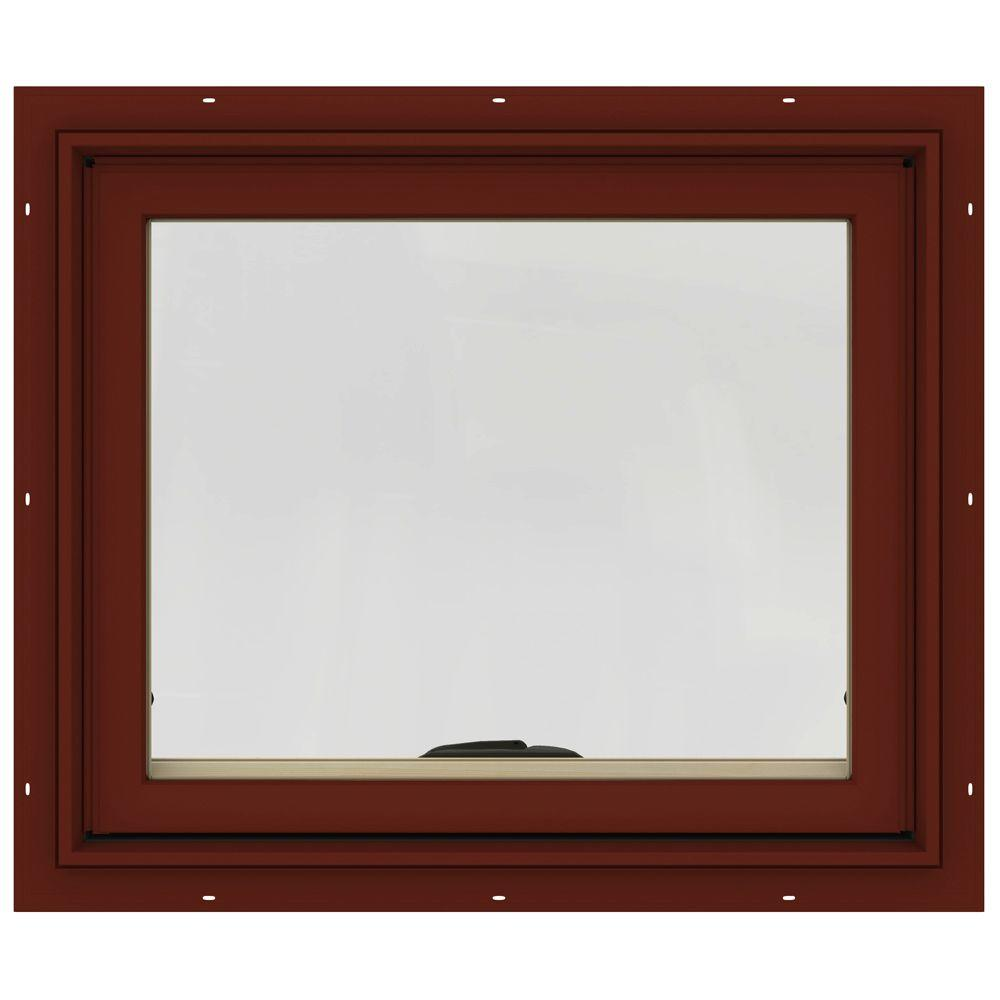 24 in. x 20 in. W-2500 Series Red Painted Clad Wood