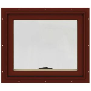 24 in. x 20 in. W-2500 Series Red Painted Clad Wood Awning Window w/ Natural Interior and Screen
