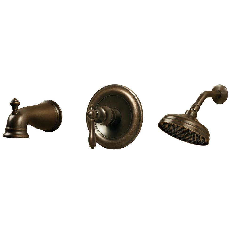 Glacier Bay Estates Single Handle 1 Spray Tub and Shower Faucet in Heritage  Bronze Valve Included 874 5196H The Home Depot