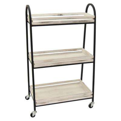 19.5 in. x 10.5 in. x 33.5 in. Wood/Metal Cart On Wheels Finished in White Wash