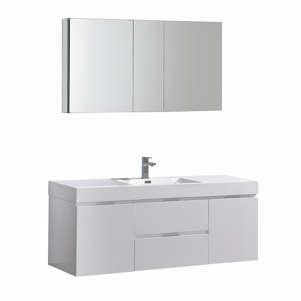 Fresca Valencia 60 In W Wall Hung Vanity White With Acrylic Top