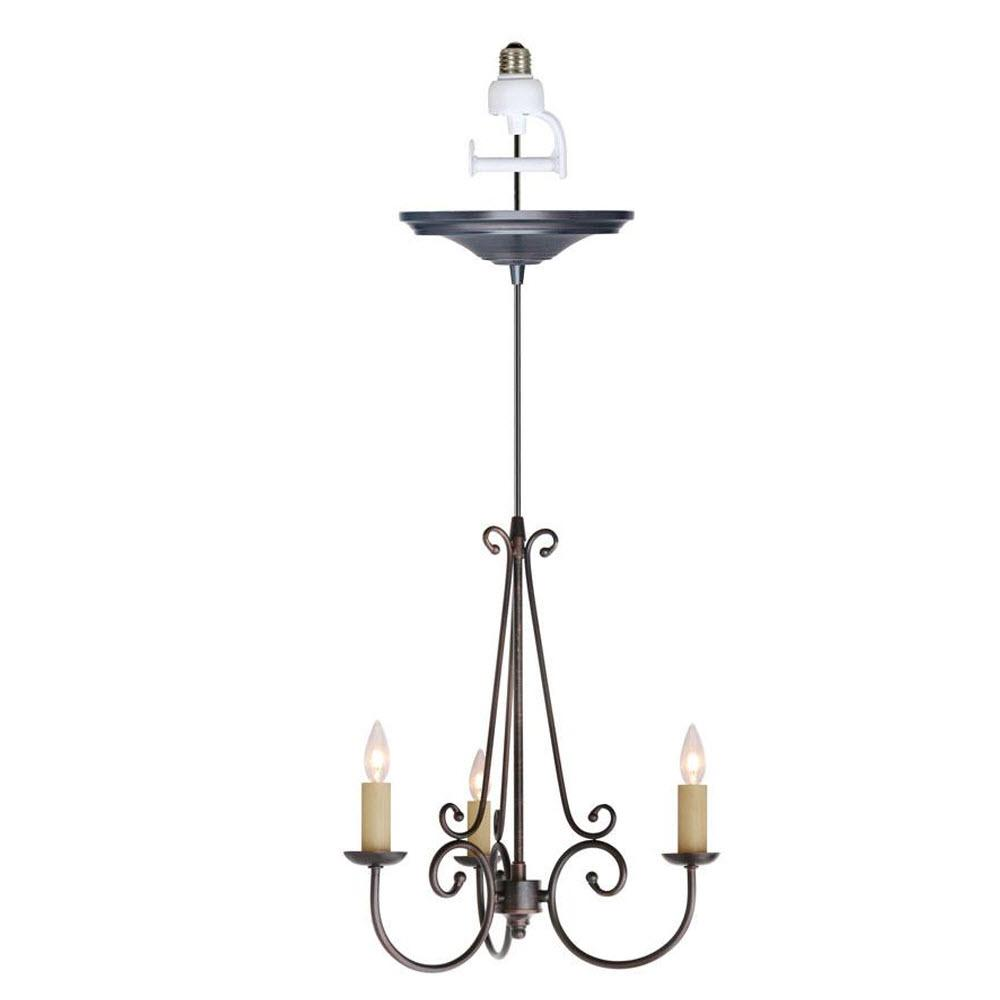 Rogen 3-Light Oil Rubbed Bronze Small Instant Chandelier Light Conversion Kit
