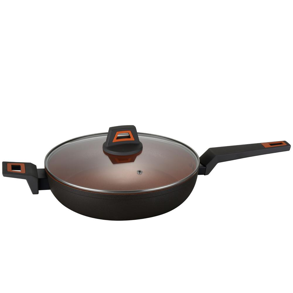12 in. Rough Non Stick Coated Round Wok Pan Volcano Stone