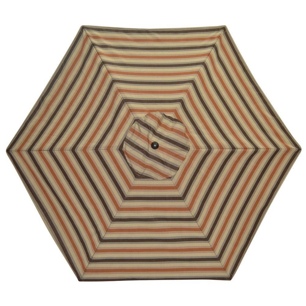 Plantation Patterns 9 ft. Patio Umbrella in Nutmeg Stripe-DISCONTINUED