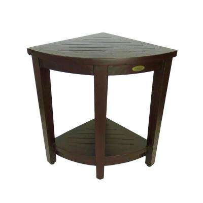Classic 24 in. Extended Height Ergonomic Teak Shower Stool with LiftAid Arms and Shelf
