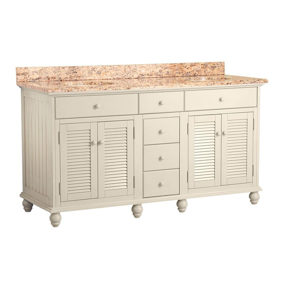 Home Decorators Collection Cottage 61 in. W x 22 in. D Vanity in Antique White with Vanity Top in Santa Cecilia