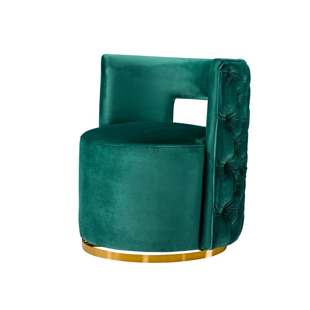 Green Flexible and Interesting Velvet Electroplate Living Room Swivel Barrel Chair