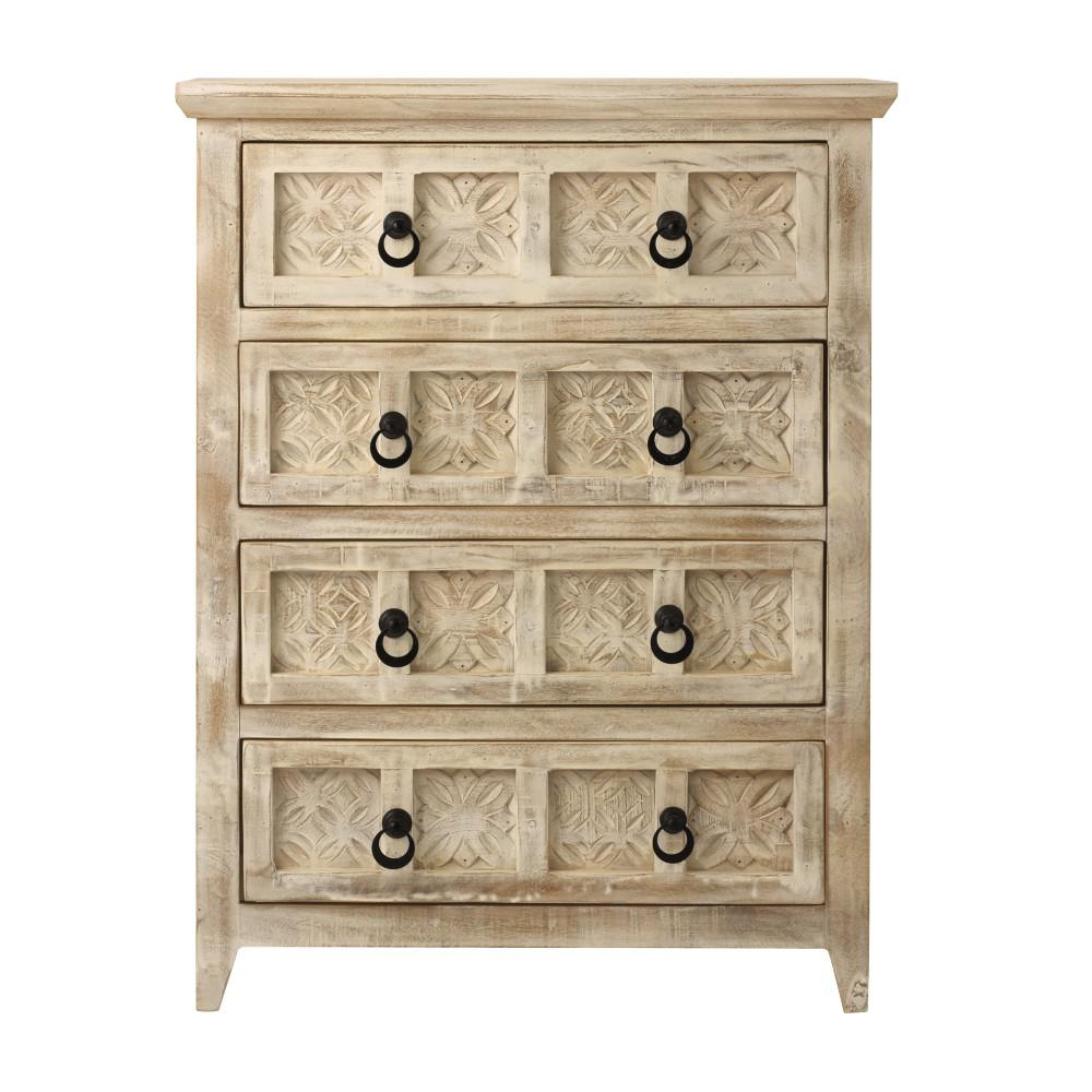 Print Block 4 Drawer Whitewash Chest
