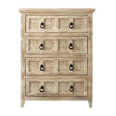 Print Block 4-Drawer Whitewash Chest