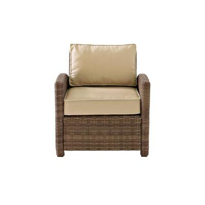 Bradenton Wicker Outdoor Patio Lounge Chair with Sand Cushions