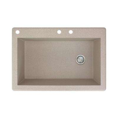Radius Drop-in Granite 33 in. 3-Hole Single Bowl Kitchen Sink in Cafe Latte