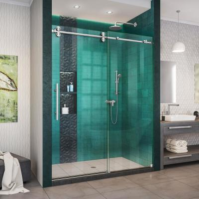 Enigma-XO 56-60 in. W x 76 in. H Fully Frameless Sliding Shower Door in Brushed Stainless Steel