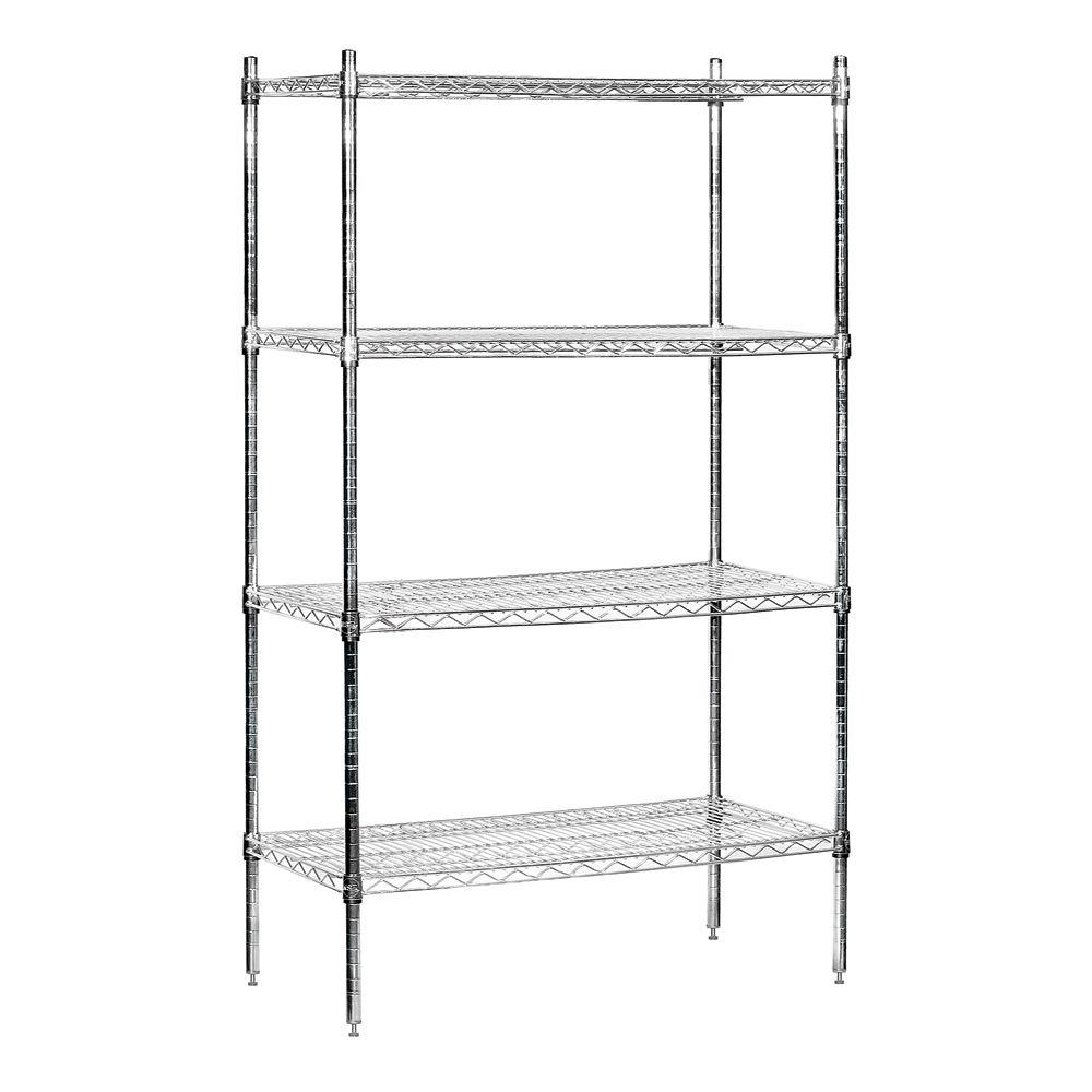 Salsbury Industries 9600S Series 36 in. W x 74 in. H x 18 in. D Industrial Grade Welded Wire Stationary Wire Shelving in Chrome