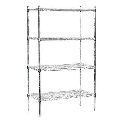 9600S Series 36 in. W x 74 in. H x 18 in. D Industrial Grade Welded Wire Stationary Wire Shelving in Chrome