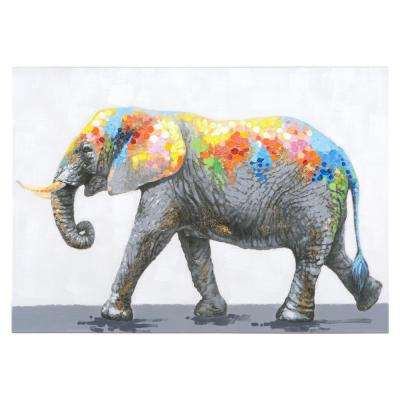 27.6 in. H x 39.4 in. W Dazzling Elephant Original Hand Painted Wall Art in Canvas