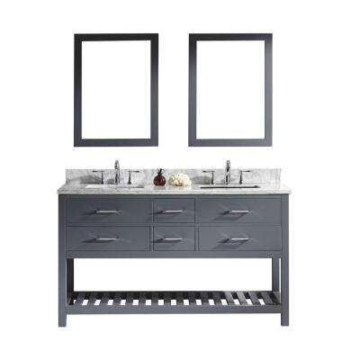 Caroline Estate 60 in. W x 36 in. H Vanity with Marble Vanity Top in Carrara White with White Square Basin and Mirror