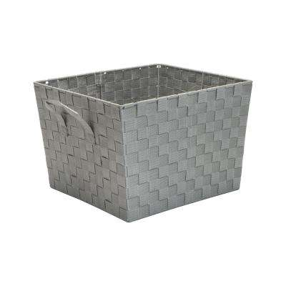 13 in. x 15 in. x 10 in. Large Woven Storage Bin in Grey
