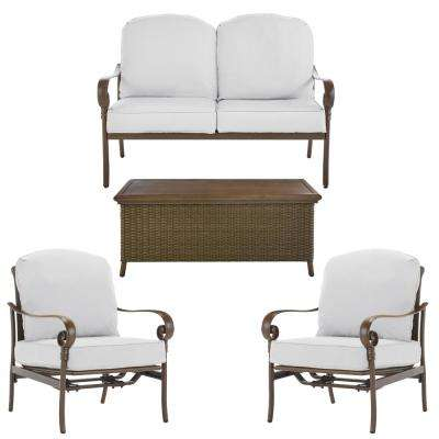 Walton Springs Dark Brown 4-Piece Aluminum Patio Conversation Set with Cushions Included, Choose Your Own Color