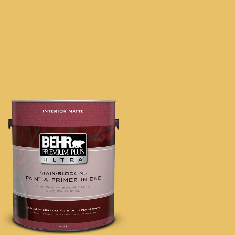 BEHR Premium Plus Ultra 1 gal. #360D-5 Golden Chalice Flat/Matte Interior Paint
