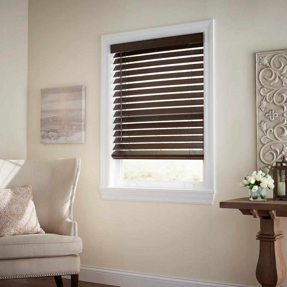 Home Decorators Collection Espresso Cordless 2-1/2 in. Premium Faux Wood  Blind - 45.5 in. W x 64 in. L (Actual 45 in. W x 64 in. L)
