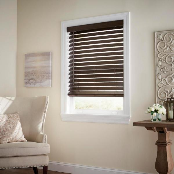 Home Decorators Collection Espresso Cordless Room Darkening 2 5 In Premium Faux Wood Blind For Window 34 5 In W X 72 In L 10793478402281 The Home Depot