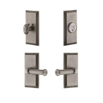 Carre Plate 2-3/4 in. Backset Antique Pewter Georgetown Door Lever with Single Cylinder Deadbolt