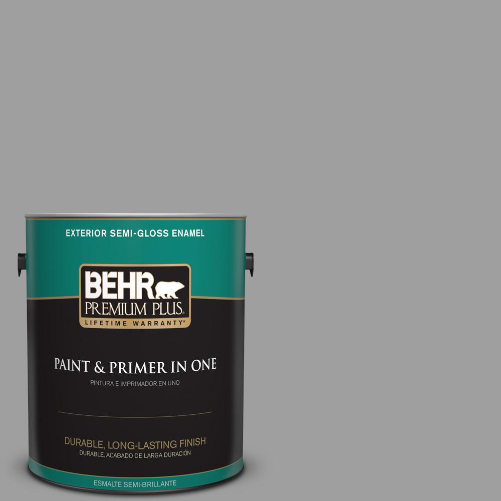 1 gal. #PPU26-06 Elemental Gray Semi-Gloss Enamel Exterior Paint