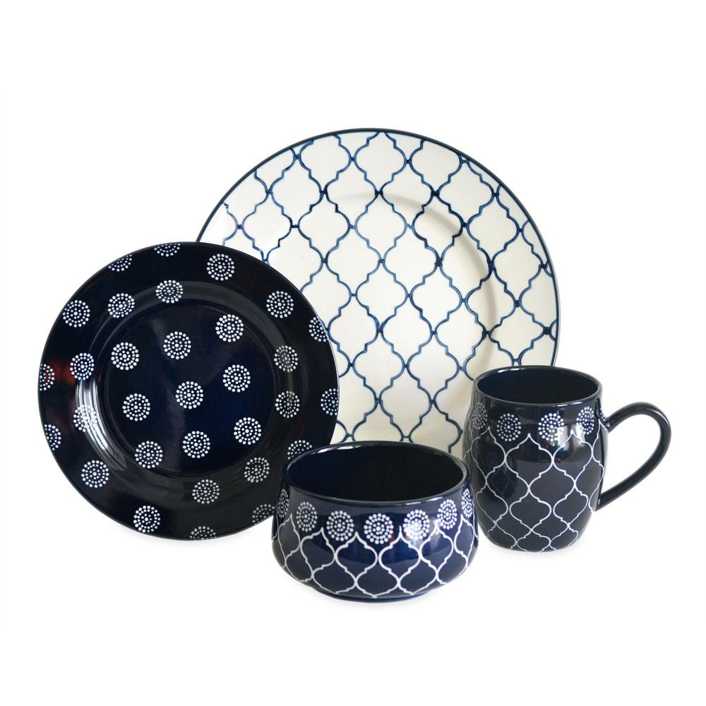 Moroccan 16-Piece Dinnerware Set in Navy  sc 1 st  HomeDepot.com & Moroccan 16-Piece Dinnerware Set in Navy-MOROCN16 - The Home Depot