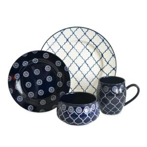 Moroccan 16-Piece Dinnerware Set in Navy by
