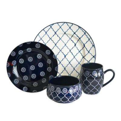 Moroccan 16-Piece Dinnerware Set in Navy