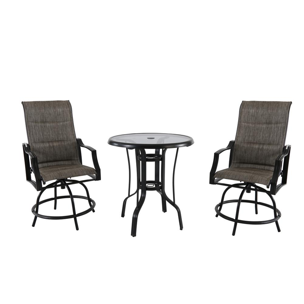 Hampton Bay Statesville 3 Piece Steel Outdoor Bistro Set Fcs70357bhsst 1 The Home Depot