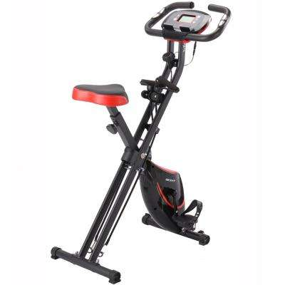 X-Magnetic Foldable Fitness/Exercise Cycling Bike in Black and Red with Magnetic Resistance