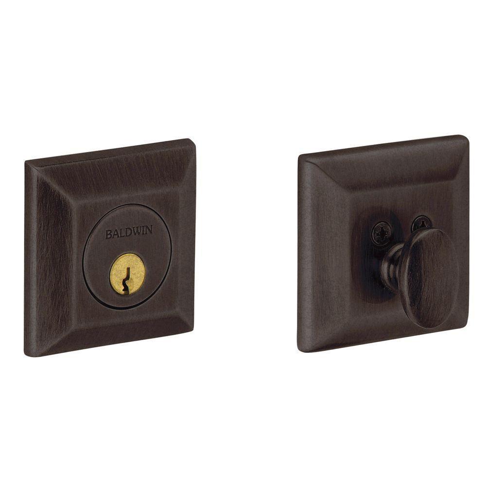 2-1/8 in. Squared Single Cylinder Door Prep Distressed Venetian Bronze Deadbolt