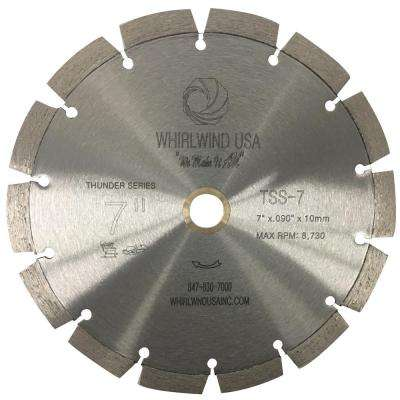 7 in. 14-Teeth Segmented Laser Welded Diamond Blade for Dry or Wet Cutting Concrete, Stone, Brick and Masonry