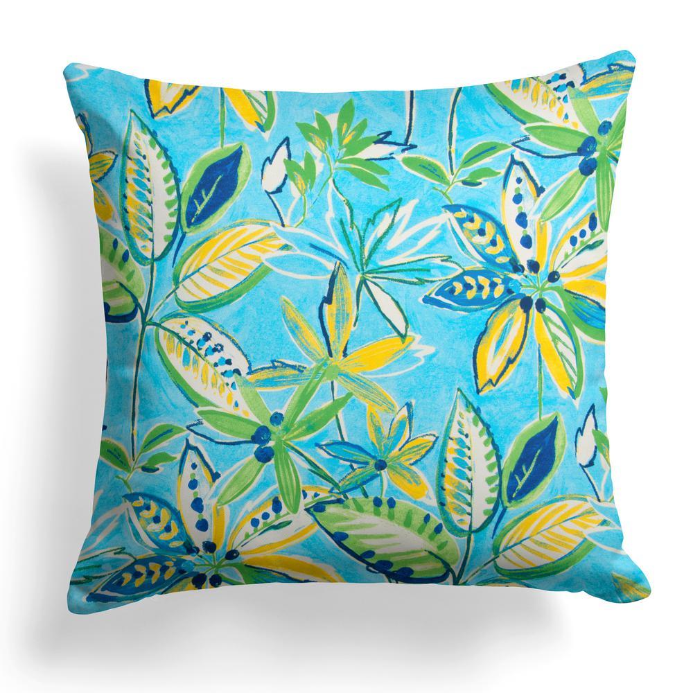 Flower Garden Blue Square Outdoor Throw Pillow