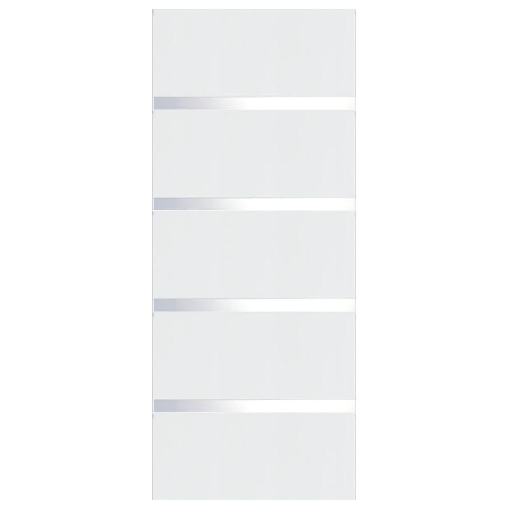 Vint Nyc 30 In X 80 In Arctica White Wood Grain With Satin Mirror Glass Flush Solid Core