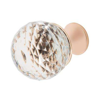 Rondure 1-1/4 in. Rose Gold with Clear Crystal Cabinet Knob