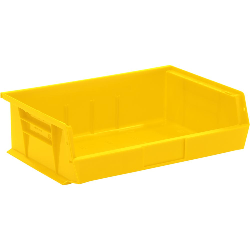 Quantum Storage Systems 7 Gal. Ultra-Series Stack and Hang Storage Bin, Yellow (6-Pack)