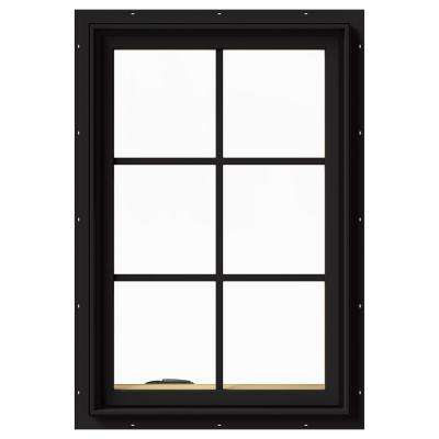 24 in. x 36 in. W-2500 Series Black Painted Clad Wood Left-Handed Casement Window with Colonial Grids/Grilles