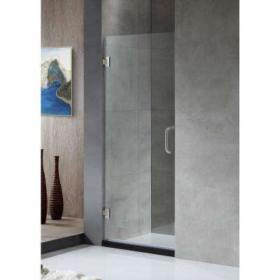 Passion 24 in. x 72 in. Frameless Hinged Shower Door in Brushed Nickel with Handle