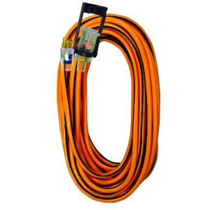 Tasco 50 ft.14/3 SJTW Outdoor Extension Cord with E-Zee Lock and Lighted End, Orange with Black Stripe by Tasco