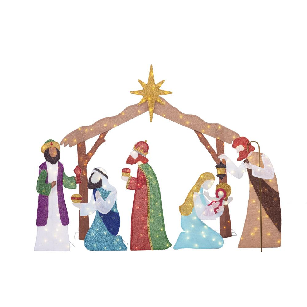 HomeAccentsHoliday Home Accents Holiday Toasty Tinsel 62 in. Life Size Christmas Nativity Scene Yard Decoration