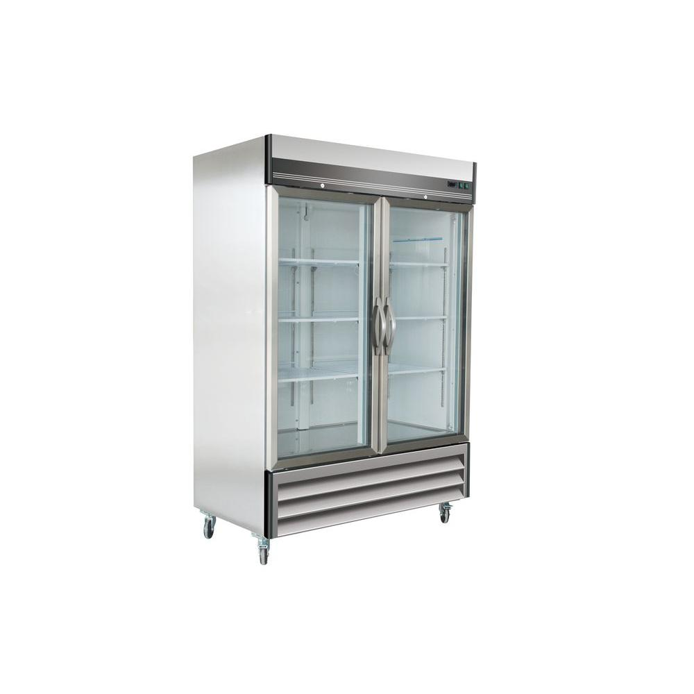 X-Series 49 cu. ft. Double Glass Door Commercial Refrigerator in Stainless