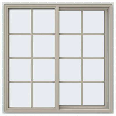 47.5 in. x 47.5 in. V-4500 Series Right-Hand Sliding Vinyl Window with Grids - Tan